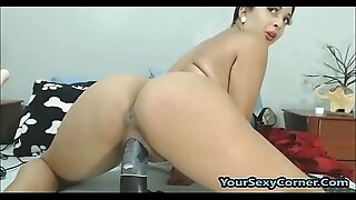 Indian Milf Fucks Big Monster Dildo