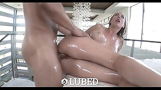 LUBED - Oiled up busty Brett Rossi fucked on massage table